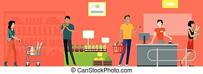 Supermarket working process concept illustration. - Shopping...