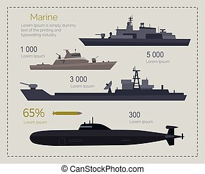 Military Navy Flat Vector Infigraphics - Naval ships...