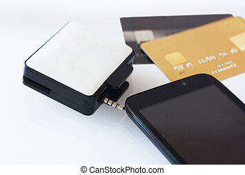 mPos machine for payment with smartphone and plastic cards