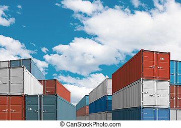 export import cargo containers bulk in port or harbor 3d...