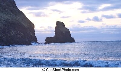 Evening in Talisker bay on west coast of the Isle of Skye in...