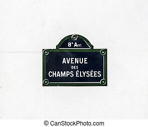Avenue des Champy Elysees - old street sign in Paris - The...