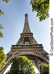 eiffel tower in paris under blue sky