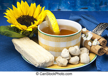 green tea and small sweets Ecuadorians - a green tea and...