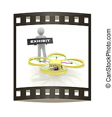 Drone, quadrocopter, with photo camera at the technical...