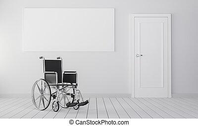 Wheelchair in room with closed door