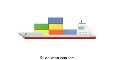 Commercial Container Ship with Containers