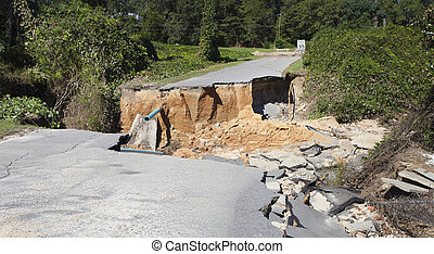 Hurricane Matthew aftermath - Road washed out in Raeford...