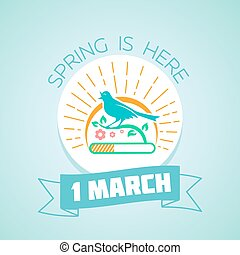 1 March - spring - Calendar for each day on March 1. Holiday...
