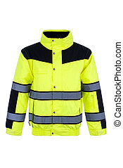 Front View of a High-Visibility Rain Jacket - Front view of...
