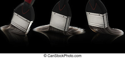 Three Paintbrushes Gliding on a Smooth Reflective Surface