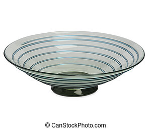 Round Crystal Bowl with Swirling Line Design Cut Out - Cut...