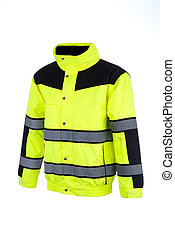 Angled View of a High-Visibility Rain Jacket - Angled view...