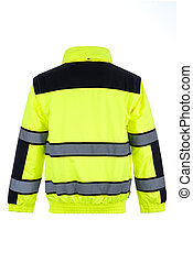 Rear View of a High-Visibility Rain Jacket - Rear view of a...