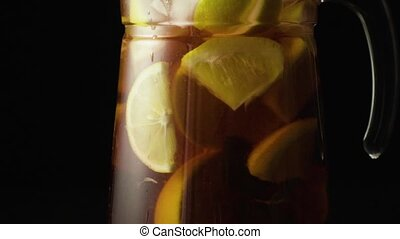 Sangria in the carafe slow mo - Sangria in the carafe with...