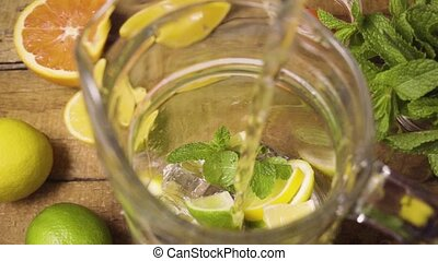 Slow mo made lemonade in the carafe with ice, mint and lemon...