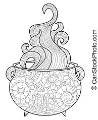 With steam witches cauldron Coloring book vector for adults...