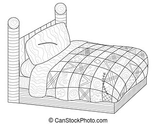 Bed with a patchwork quilt Coloring book vector for adults -...