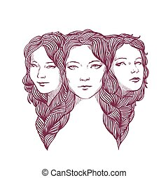 Triple portrait of beautiful young girls woven with long...