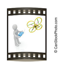 3d man with drone, quadrocopter, with photo camera. 3d...