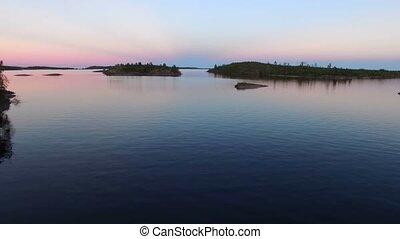 Aerial of islands in lake - Aerial shot of islands in lake