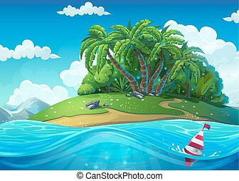 Float on the background of the island with palm trees in the sea
