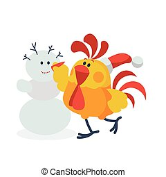 Rooster with Snowman Flat Vector Illustration - Rooster...