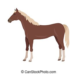 Sorrel Horse Vector Illustration in Flat Design - Sorrel...
