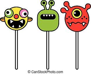 monster pop, humorous lollipops booger