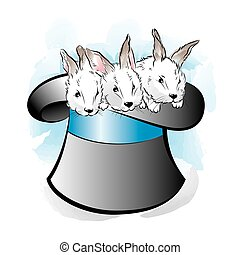 Hat of the magician with three rabbits. Vector illustration