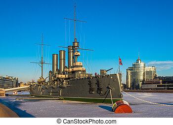 Linear cruiser Aurora, the symbol of the October revolution,...
