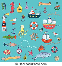 Nautical funny set for kids - vector graphic illustration