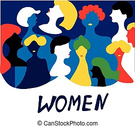 Conceptual illustration with women in group