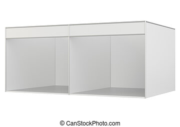 Blank exhibition stand. 3d rendering isolated on white...