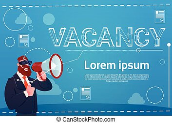 Business Man Hold Megaphone Vacancy Search Employee Position...