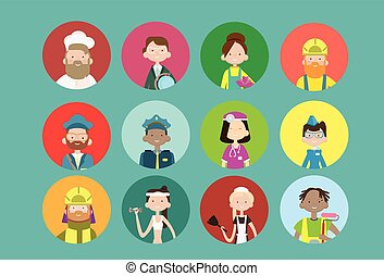 People Group Different Occupation Icon Set, Employees Mix...