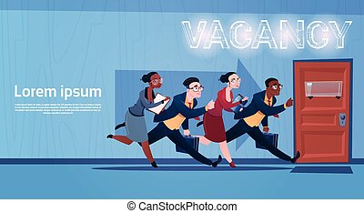 Business People Group Running Vacancy Search Employee...