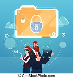 Business Woman And Man Wear Digital Virtual Reality Glasses Document Lock Data Protection Concept