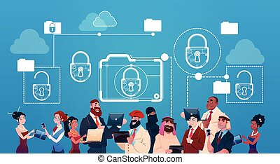 Business Woman And Man Using Gadgets Lock Data Protection Concept