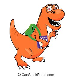 cute dinosaur with glasses and textbook wearing backpack walking to school