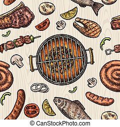 Seamless pattern barbecue grill. Top view charcoal, sausage,...