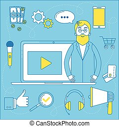 Video blogger illustration. Line design man in front of his...