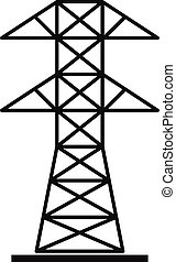 High voltage tower icon, simple style