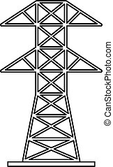 Electric tower icon, outline style - Electric tower icon....
