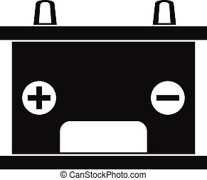 Electricity accumulator battery icon, simple style -...
