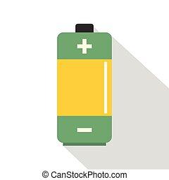 AA Alkaline battery icon, flat style - AA Alkaline battery...