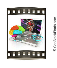 Laptop, brain and Stethoscope. 3d illustration. The film...