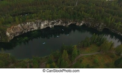 Aerial shot of Ruskeala mining park lake