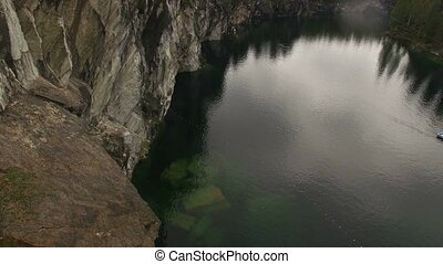 Aerial shot of Ruskeala mining park lake