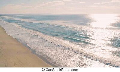 Aerial View Seascape with Waves on Sandy Beach, Portugal
